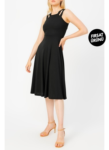 Random Çift Askılı Midi Elbise Siyah